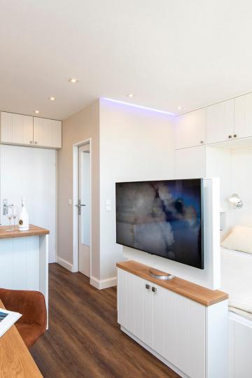 tiny-appartement, westerland-sylt - gesamtansicht: einbaukueche, wohn-und schlafraum mit doppelbett & tv-drehbar